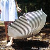 太陽傘防紫外線黑膠防曬遮陽三折手開創意折疊新款日系條紋晴雨傘艾美時尚衣櫥