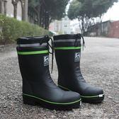 雨鞋-短雨鞋男士中筒防滑防水橡膠鋼頭防砸勞保秋冬加絨加棉保暖雨靴  YTJ 夏沫之戀