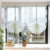 魔術貼窗簾清新唯美刺繡氣球簾提拉簾羅馬簾免打孔成品窗紗 全館免運