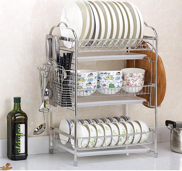 304不鏽鋼碗架瀝水碗碟架 廚房置物架收納晾放碗盤架三層