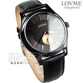 LOVME 小秒盤設計 城市簡約風腕錶 男錶 IP黑電鍍x黑 皮革錶帶 VL1139M-33-341