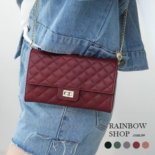 斜背包-質感菱格鏈條多卡層斜背小包-K-Rainbow【A17172491】