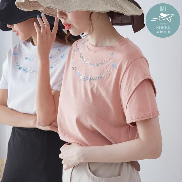 T恤 韓國空運!葉片配色刺繡拼接雙層袖棉質上衣-BAi白媽媽【309540】