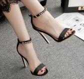 高跟涼鞋 高跟鞋 夏季歐美新款簡約一字扣水鑽露趾細及女鞋韓版女鞋子【多多鞋包店】ds4069