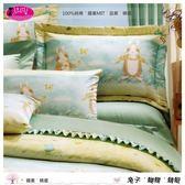 雙人加大【兩用被套+薄床包】(6*6.2尺)/高級四件式100%純棉雙人『兔子˙蝴蝶˙蜻蜓』part1☆*╮