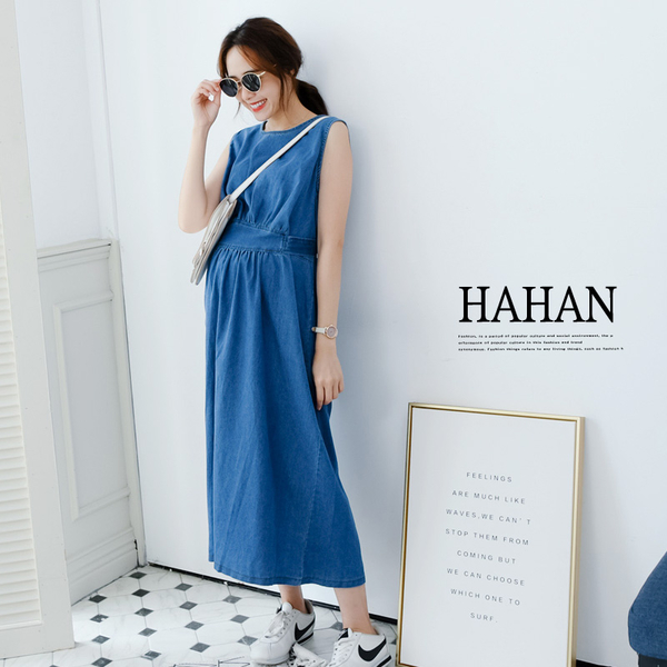 【HC5153】顯瘦綁帶 後鏤空牛仔洋裝