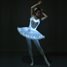 發光芭蕾舞演出服成人羽毛蓬蓬裙熒光LED亮片小天鵝吊帶裙表演服 亞斯藍生活館
