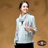 【岱妮蠶絲】牛樟芝系列藝術風蠶絲圍巾長絲巾(指月)