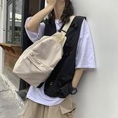 斜背包女韓版大包百搭簡約大容量日繫大學生上課包帆布側背包胸包 伊蘿