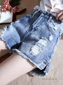 牛仔短褲女夏2019新款韓版高腰寬鬆學生百搭顯瘦闊腿大碼a字熱褲
