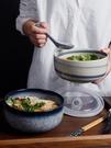 日式陶瓷泡面碗帶蓋碗宿舍用學生單個大號便當飯盒碗家用碗筷套裝 果果輕時尚