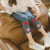 童韓版女童牛仔褲全棉刺繡花朵不規則褲腳口刺繡牛仔褲吾本良品