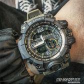 潮男防水電子錶雙顯多功能跑步運動計時手錶男士軍錶大錶盤夜光錶        時尚教主