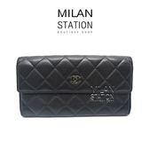 【台中米蘭站】CHANEL COCO 黑色羊皮格紋扣式長夾