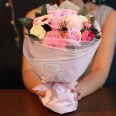 玫瑰花假的仿真花束情人節香皂花禮盒生日浪漫創意高檔畢業花禮物   LannaS