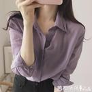 長袖襯衫 復古 長袖襯衫女春秋氣質襯衣設計感 洋氣紫色上衣-Ballet朵朵