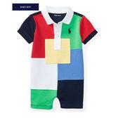 Polo Ralph Lauren polo杉短袖兔裝連身衣 多色拼接 | 男寶寶 | 北投之家童裝【RA117024916】