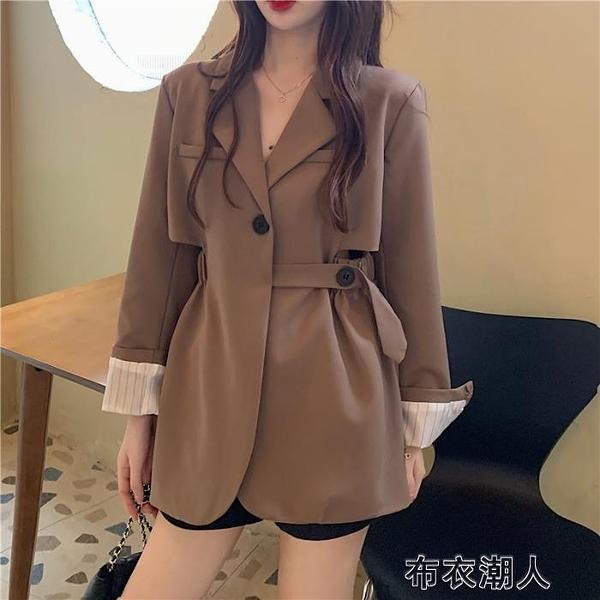 季2021新款韓版休閒寬鬆英倫風小西裝外套女設計感小眾西服 【快速出貨】