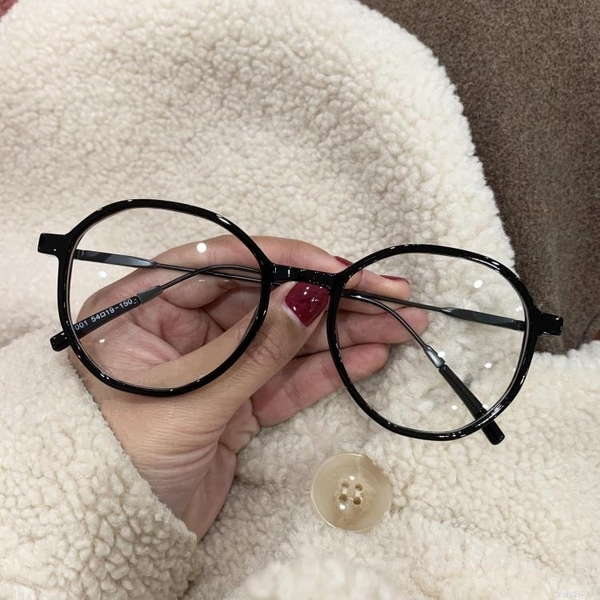 復古圓形黑框素顏神器眼鏡框女韓版潮網紅原宿平光鏡奶茶色鏡框女 雙十二全館免運