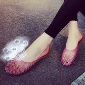 夏季浴室拖鞋水晶果凍鞋家居家女室內包頭塑料橡膠防滑涼拖鞋 EY3817『M&G大尺碼』