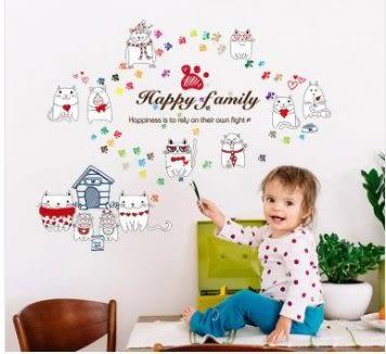 預購-溫馨創意可愛貓咪幼兒園客廳走廊背景裝飾可移除牆壁紙貼