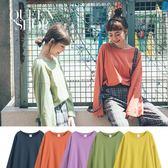 Queen Shop【01037358】圓領素面寬袖多色T 五色售*預購*