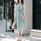 無袖洋裝 夏季新款原宿清新薄荷綠棉麻樣無袖洋裝女不規則長裙女神裙 中秋節