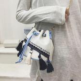 刺繡包小包包2019夏季女包鏈條流蘇水桶包時尚民族風迷你側背斜跨包 爾碩數位3c