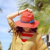 度假草帽女正韓潮春夏天沙灘防曬折疊大沿遮陽帽紅色太陽帽子 七夕節禮物