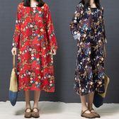 棉麻 民俗風印花洋裝-中大尺碼 獨具衣格