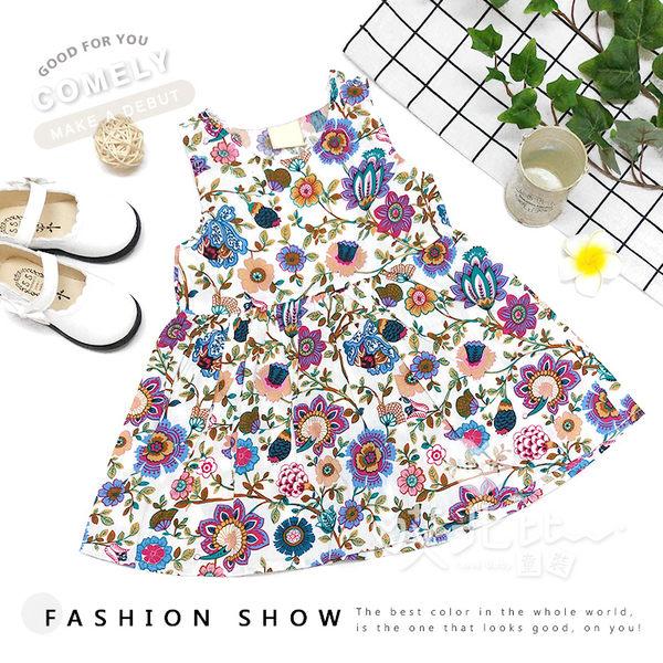 夏季歐式花朵圖騰滿版棉麻洋裝 透視 兔子 女童 連身裙 背心裙 可愛