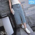 【V2293】shiny藍格子-復古牛仔...