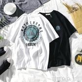 夏季嘻哈hiphop印花國短袖上衣男情侶寬鬆流半袖【快速出貨】