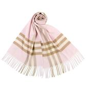 BURBERRY 經典格紋喀什米爾羊毛圍巾(雪花粉)089540-6