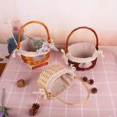 柳編藤編籃子編織收納籃採摘野餐籃道具手提菜籃子 ATF 安妮塔小舖