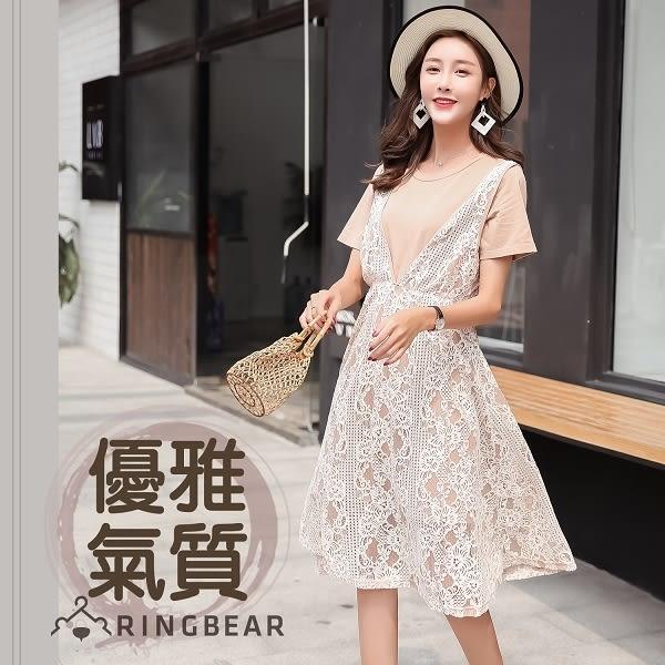 二件式--氣質優雅甜美蕾絲A字收腰修身兩件式短袖洋裝(杏L-4L)-D507眼圈熊中大尺碼