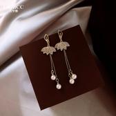 舞動的精靈超仙氣質森系長款流蘇耳環女韓國珍珠吊墜耳飾銀針耳釘