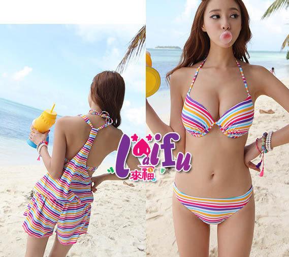 ★草魚妹★C382泳衣彩虹褲裝三件式泳衣游泳衣泳裝比基尼,售價880元