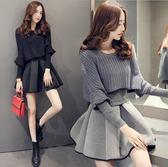 第二件1元 韓國風名媛洋氣氣質小香風針織蓬蓬裙套裝長袖裙裝