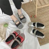 娃娃鞋丑萌大頭女夏季新款韓版套腳水鉆淺口百搭豆豆鞋 XY1012 【男人與流行】
