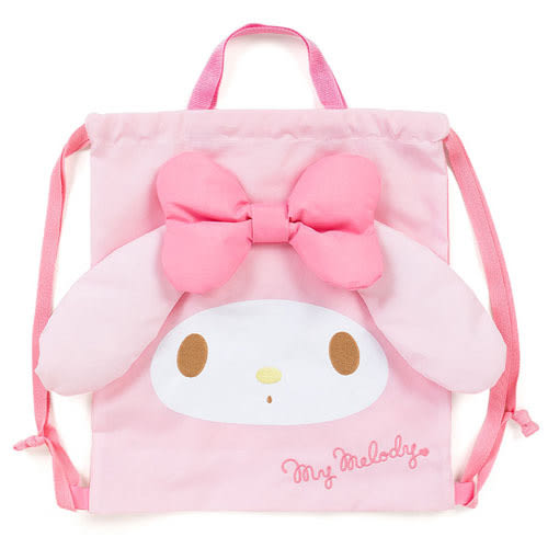 《Sanrio》美樂蒂大臉防潑水童用縮口後背提袋_699829