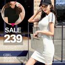 SISI【D9023】現貨性感運動風圓領短袖緊身迷人曲線素面中長款包臀連身裙洋裝
