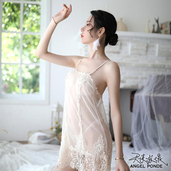 天使波堤【LD0523】透視冰感網紗美背連身睡裙大尺碼居家睡衣蕾絲罩衫死庫水二件式-白色