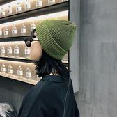雙層卷邊針織帽彈力細毛線帽子女春純色拼接冷帽保暖包頭帽   蜜拉貝爾