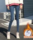 牛仔褲女褲秋冬季外穿顯瘦網紅加厚長褲緊身小腳高腰加絨  後街五號