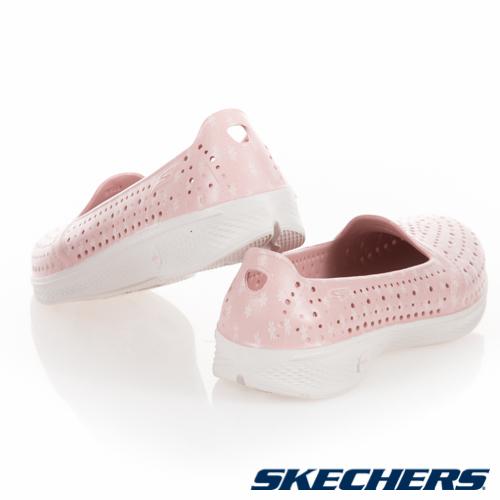 SKECHERS H2 Go-Blossom 女鞋 休閒 避震 防水 排水 輕便 粉 白【運動世界】14697PKW