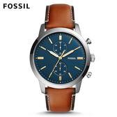 FOSSIL Townsman 咖啡色皮革手錶 男