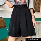 時尚韓版新款夏五分褲女寬鬆顯瘦休閒寬管褲黑色直筒西裝短褲【全館免運】