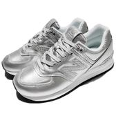 New Balance 復古慢跑鞋 574 NB 銀 白 基本款 運動鞋 休閒鞋 女鞋【PUMP306】 WL574NRIB