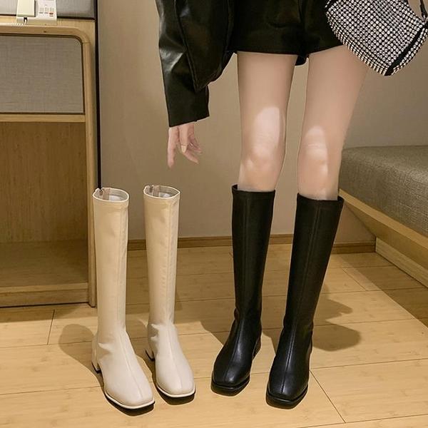 長靴女不過膝高筒騎士靴春秋粗跟皮靴大碼長筒靴子